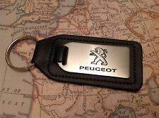 PEUGEOT  Key Ring Etched and infilled On Leather