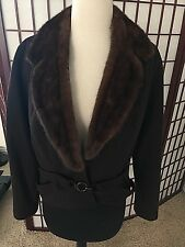 vintage black cashmere Mink fur collar jacket S