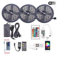 1-10M 5050 RGB SMD Waterproof LED Strip Lights+Bluetooth WiFi Remote 12V Power