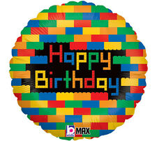 "BLOCK PARTY - Lego Building Blocks ""Happy Birthday"" 18"" Mylar Balloon"