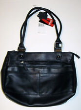 NEW Aurielle Ladies Navy Blue Leatherware Satchel Handbag Purse Zippers Pockets