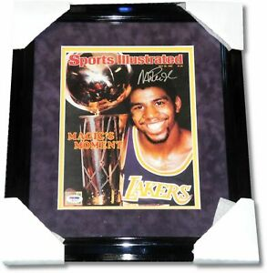 Magic Johnson Hand Signed Autographed 8x10 Photo Exquisite Suede Frame PSA/DNA