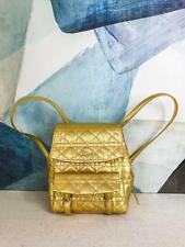 $2400 CHRISTIAN DIOR Gold Metallic Quilted Cannage Leather Stardust Backpack SM