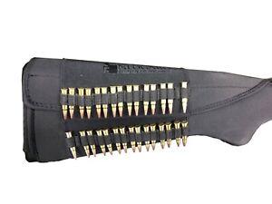 Rifle Ammo Cartridge Buttstock Holder Cover - Holds 30 rim fire bullets - BLACK