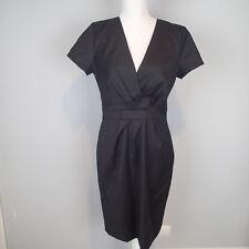 J CREW Black  DRESS Sz 8 Wool Flannel Style v neck short sleeve w5