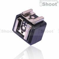 Dual-Hot Shoe Mount Adapter Flash Trigger wt 3.5mm SYNC Port f Nikon Pentax Metz
