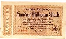 1923 Germany REICHSBAHN 100.000.000 / 100 Million Mark Banknote