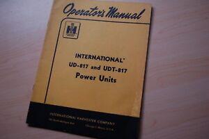 IH INTERNATIONAL UDT UD-187 POWER UNIT User Owner Operator Operation Manual book