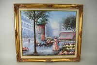 Ron Selldon Oil Painting Paris Street Flower Market Gold Frame Impressionist