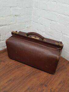 Vintage Leather Doctors Gladstone Bag With Key Medicine Medical