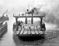 Photograph Vintage Train Transfer Steamship The Detroit 1905 8x10