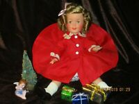 "SHIRLEY TEMPLE DOLL 12 ""  1950'S  IDEAL ADORABLE IN HOLIDAY RED TAFFETA ENSEMBLE"
