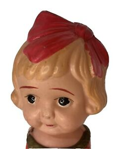 """6"""" Celluloid Girl with Bow Flapper Dress Doll Jointed Arms Vintage Toy Label"""