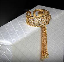 18k Gold GP Adjustable Tassel Band Ring made w Swarovski Crystal Stone Designer