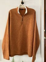 Orvis Trout Bum 1/4 Zip Sandstone Pullover Sweater Shearling Collar HEFTY! EUC