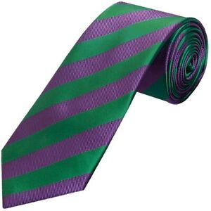 Green and Purple Striped Classic Men's Tie Regular Tie Wedding Tie Wimbledon Tie