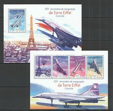 ST1109 2014 GUINEA-BISSAU AVIATION CONCORDE EIFFEL TOWER KB+BL MNH STAMPS