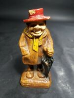 Vintage German Black Forest Brienz Wood Carving Figurine Old Lady With Hat