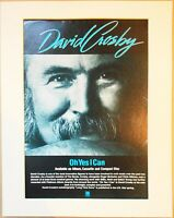 DAVID CROSBY Oh Yes I Can 1989 Music Press Poster Type Advert In Mount