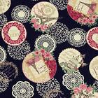 """Linen Look"" Cotton Fabric by FQ Paris Eiffle Tower Flowers Lace & Butterfly VM5"