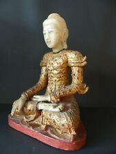 ANTIQUE WOODEN BUDDHA SHAKYAMUNI W. ALABASTER HEAD, GLASS INLAYS–BURMA–18thCh C.