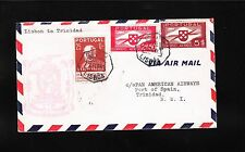 Portugal Air Mail Lisbon Trinidad 1941 Pan Am Airway Cover Port of Spain Bkstp ^