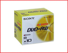 SONY DVD+RW 4.7GB 4x Speed 120min Rewritable DVD Discs Jewel Case Pack 10