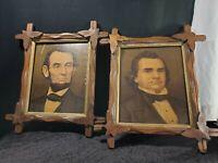 VTG ABRAHAM LINCOLN & STEVEN DOUGLAS  PICTURES HANDCARVED WOOD ADIRONDACK FRAMES