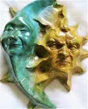 Handmade Sun Moon Wall Sculpture by Claybraven, Indoor Outdoor Original Artwork