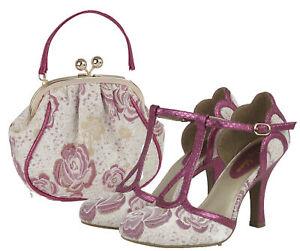 Ruby Shoo Fuchsia Polly Mary Jane Heels & Matching Arco Bag