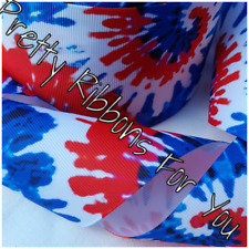 "tie dye 3"" wide grosgrain ribbon the listing is for 2 yards total"