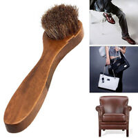 Wood Horse Bristle Hair Brush Shoes Boot Polish Buffing Care Shoe