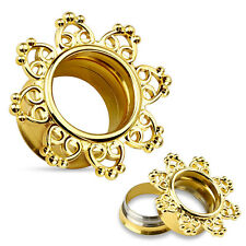 Screw Flesh Tunnel Plug Vintage Heart Ornament Steel Ear Piercing Tube Earlet 10 Mm Gold