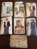 Lot of 7 Vintage McCalls Simplicity Sewing Patterns Misses Size 12-14-16 UnCut