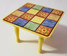 FISHER-PRICE LOVING FAMILY DOLLHOUSE DINING ROOM KITCHEN YELLOW QUILT-TOP TABLE