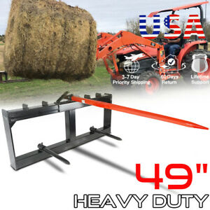"""Hay Bale Spear Skid Steer Loader Tractor Quick Tach Attachment Moving 49"""" Steel"""