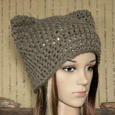 Knit Hat, Chunky Wool Beanie, Cat Ears Knitted Skull Cap, Hand Knit Pale Brown