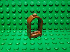 Lego NEW reddish brown window 1 x 2 x 2 2/3 w/ pearl gold lattice shutter  X2