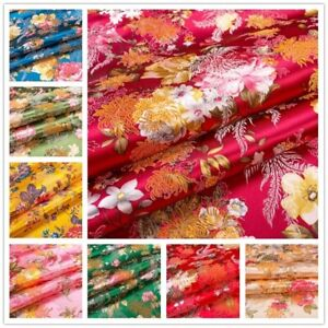 Satin Floral Embroidery Fabric Faux Silk Material Damask Brocade Jacquard Cloth