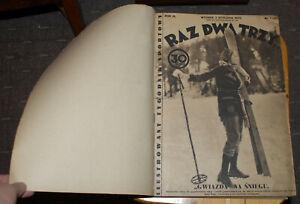 """""""RAZ DWA TRZY"""" POLISH SPORT WEEKLY NEWSPAPER 1933 COMPLETE YEAR SET №1-52 POLAND"""