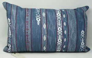 """Lucky Brand Kantha 14"""" x 22"""" Embroidered Geometric Cotton Decorative Pillow"""