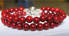 Charming 8mm Red Shell Pearl Gemstone Bangle Bracelet 2Row 7.5''