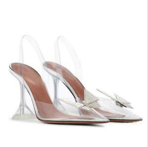 Butterfly Rhinestone Gladiator PVC Peep Toe Wine cup High Heel lady Sandals Shoe