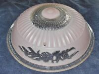VINTAGE PINK & CLEAR GLASS 3 CHAIN CEILING SHADE 14 1/4 in DIAMETER