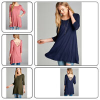Womens Autumn Casual Round Neck Plain Long Sleeve Tunic T-Shirt Loose Top (S-XL)