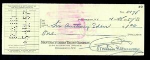 Rare Sir Anthony Eden signed signature autograph ex Cornelius Greenway