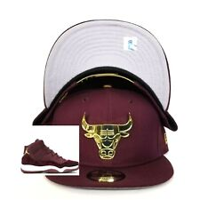 New Era Chicago Bulls Snapback hat for Jordan 11 Maroon Velvet