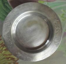 Ancien Petit Plat Métal Argenté Décor Pâques diamètre 17,5cm