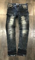 NEW MEN FASHION DENIM BIKER SLIM FIT JEANS BLACK INDIGO