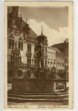 AK Braunau am Inn, Rathaus mit Fischbrunnen, 1921